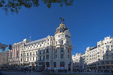 (Edificio Metropolis) Metropolis Building, Calle Gran Via, Calle Alcalà, Madrid, Spain, Europe