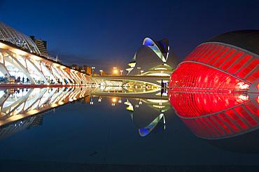 Palau de les arts Reina Sofia, Hemisferic, Museu de les Ciences Principe Felipe, Ciutat de les Arts i les Ciències, Valencia, Spain, Europe