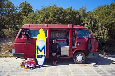 Camper; Is Solinas Beach, Masainas, Sardinia, Italy, EuropeMasainas; Solinas; Sardinia; Nature; Site; Sulcis; Visit; Flamingos; Kite; Zone; Sand; Dune; Beach; Coast; South-West; Wind; Horizontal; Vertical