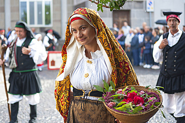 Typical dress of Portoscuso, Procession of Santa Vitalia, Serrenti, Sardinia, Italy, Europe
