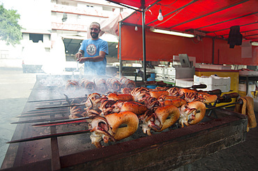 Cuttlefish on the spit, Mullet Grilled, Typical Sardinia recipe, Feast of Santa Vitalia, Serrenti, Campidano, Sardinia, Italy, Europe,
