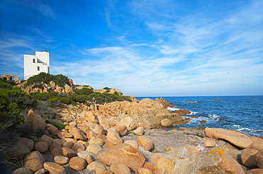 Lighthouse; Capo Comino, Siniscola, Sardinia, Italy, Europe