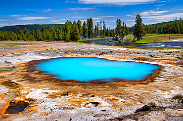Black Opal Pool in Biscuit Basin, Yellowstone National Park, Wyoming.