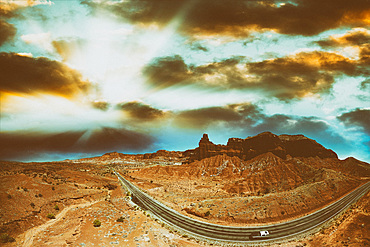 Panoramic aerial view of National Park windy road, USA.