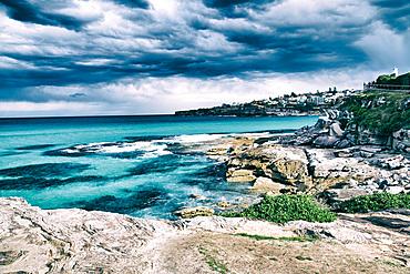 Beautiful coasrline of Bondi Beach, Sydney.