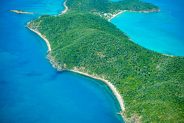 Aerial view of beautiful island coastline.