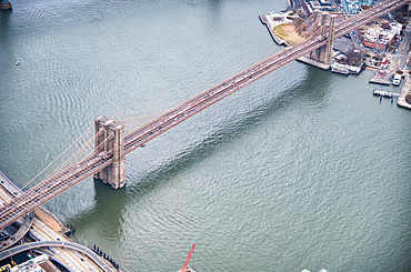New York City from helicopter point of view. Brooklyn Bridge aerial view.