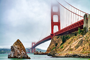 San Francisco. Golden Gate Bridge on a foggy summer morning.