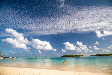 Amazing sky over beautiful tropical beach. Holiday and travel concept.