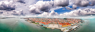 Panoramic aerial view of Lisbon skyline, Portugal.