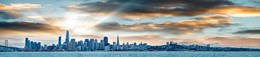 San Francisco, California. Panoramic view of Downtown skyline at sunset.