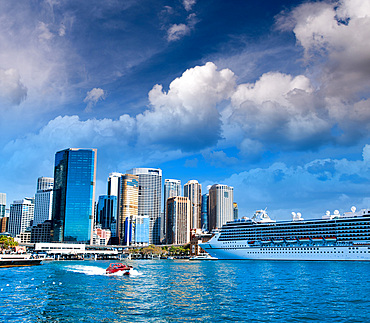 Cruise ship docked in Sydney Harbor, Australia.