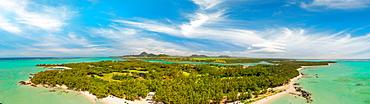 Ile Aux Cerfs, Mauritius. Aerial view of beautiful coastline.