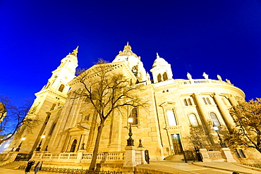 St Stephen Cathedral at night in Budapest.