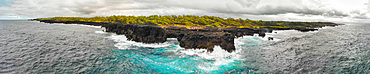 Panoramic aerial view of Pont Naturel in Mauritius. This is a natural bridge over the water.