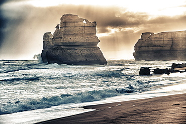 The Twelve Apostles from Gibson Steps on a stormy afternoon, Australia