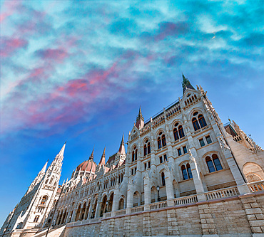 Exterior view of Budapest Parliament on a sunny day, Hungary