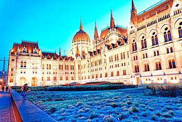 Budapest Hungarian Parliament at night, Hungary.