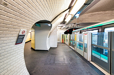 Interior of Subway Station in Paris. Metro train.