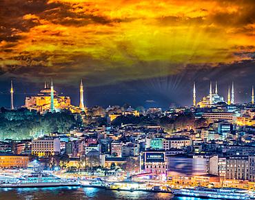 Istanbul at night. Beautiful sunset city skyline.