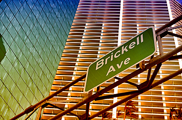 Brickell Avenue road sign in Downtown Miami, Florida