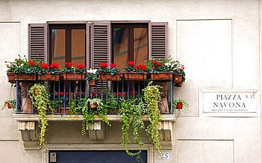 Typical balcony, Rome, Lazio, Italy, Europe