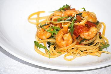 Spaghetti Rucola and gamberetti, Ischia island, Naples, Campania, Italy, Europe.