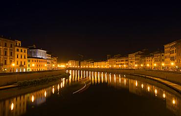 Arno river, Pisa city, Tuscany, Italy, Europe.