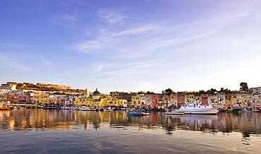 Procida harbour, Procida island, Naples, Campania, Italy, Europe.