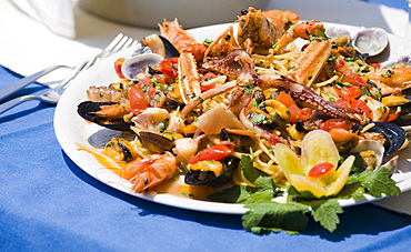 Fish food, Procida island, Naples, Campania, Italy, Europe.