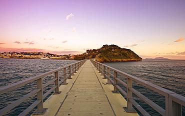 Bridge over the sea from Procida to Vivara, Procida island, Campania, Italy, Europe