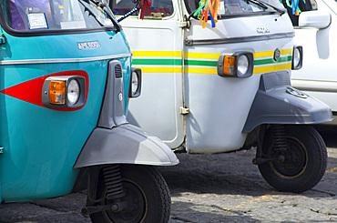 Traditional Taxi Motoretta Ape, Ischia Ponte, Ischia island, Campania, Italy, Europe