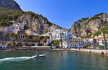 Amalfi harbour, Amalfi, Salerno, Campania, Italy, Europe