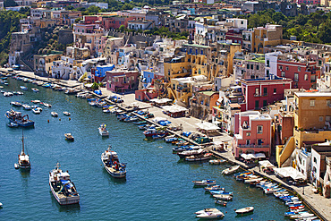 Corricella, Procida island, Naples, Campania, Italy, Europe.