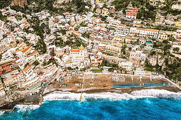 Aerial view, Positano, Campania, Italy, Europa