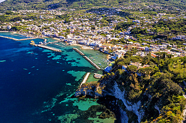 Aerial view, Il Fungo (mushroom) sea rock, Lacco Ameno, Ischia, Campania, Italy, Europe