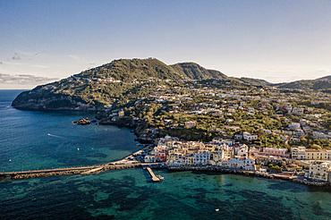 Aerial view, Ischia Porto, Ischia island, Campania, Italy, Europe