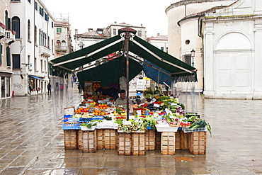 Merchant of fruit and vegetables in a square, Venice, Italy, Europe