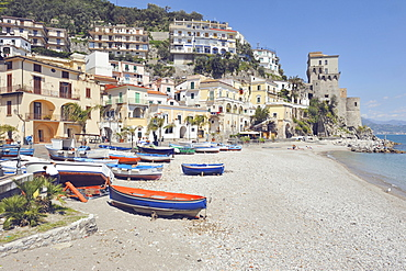 Cetara photographed from the marina, Cetara, Amalfi Coast, Campania, Italy, Europe