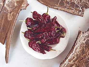 Peppers dried in the wind and sun. Typical product of the Basilicata region. This type of pepper is grown mainly in the town of Senise, Basilicata, Italy, Europe