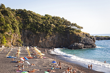 The Black Beach at sunset, Maratea, Basilicata, Italy, Europe