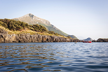 The rocky coast near the Black Beach of Maratea, Basilicata, Italy, Europe