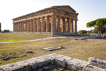 Temple of Hera, Paestum archaeological area, UNESCO World Heritage Site, province of Salerno, Campania, Italy, Europe