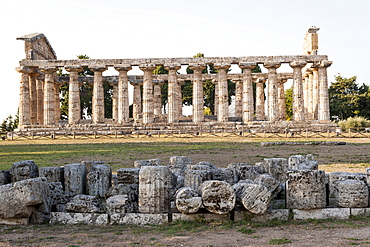 Temple of Athena, Paestum archeological area, UNESCO, World Heritage Site, province of Salerno, Campania, Italy, Europe