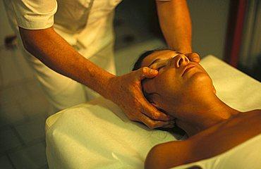 Cranial massage, Pigna ancient thermal bath, Ligury, Italy