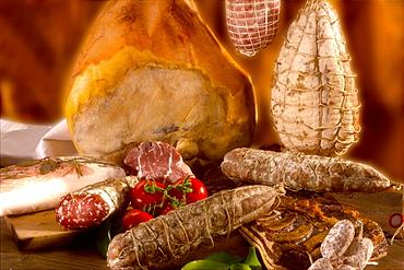 Salami, ham, culatello, zucco di Modena and bacon, Italy