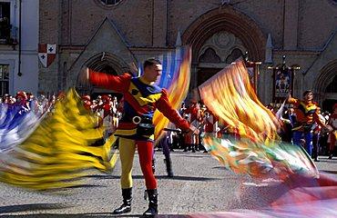 Flag-waver, Piazza S. Secondo, Palio di Asti, Asti, Piemonte, Italy