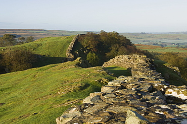 View west at Walltown Crags, Hadrian's Wall, UNESCO World Heritage Site, Northumberland, England, United Kingdom, Europe