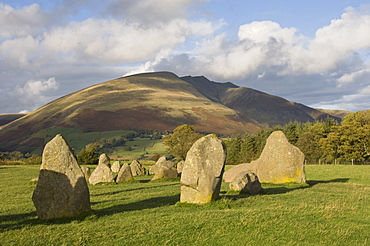 St. Johns in the Vale and the Helvellyn Range from Castlerigg Stone Circle, near Keswick, Lake District National Park, Cumbria, England, United Kingdom, Europe