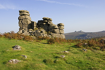A rock outcrop on Hound Tor with Haytor Rocks on the skyline, Dartmoor National Park, Devon, England, United Kingdom, Europe